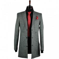 Palton barbati , Slim Fit , Gri , Ucu Dima , Cod:1072 Gri (Culoare: Gri, Marime palton: 46)
