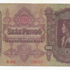 UNGARIA 100 PENGO 1930 [7] P-98, VF+ - bancnota europa, An: 1945