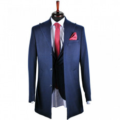 Palton barbati, Slim Fit, Bluemarin, Ucu Dima, Cod:1078 Bleumarin (Culoare: Bluemarin, Marime palton: 48)