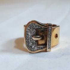 Inel argint aurit CATARAMA batut in marcasite MASIV elegant SPLENDID de EFECT