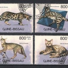 GUINEA BISSAU 2012 - PISICI - SERIE DE 4 TIMBRE - STAMPILATA / caini125