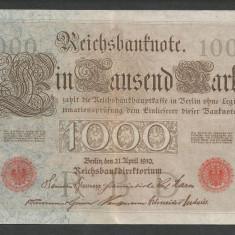 GERMANIA 1000 1.000 MARK MARCI 1910 [4]Stampila Rosie, Litera S, P-44b/1, VF+ - bancnota europa