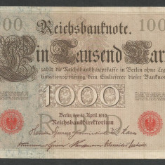 GERMANIA 1000 1.000 MARK MARCI 1910 [10] Stampila Rosie, Litera K, XF+ - bancnota europa