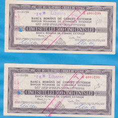 2 CEC-URI DE CALATORIE (CHEQUE DE VOYAGE)-LIBEREC-500 LEI,1975 SERII CONSECUTIVE