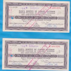 2 CEC-URI DE CALATORIE (CHEQUE DE VOYAGE)-LIBEREC-500 LEI, 1975 SERII CONSECUTIVE - Cambie si Cec