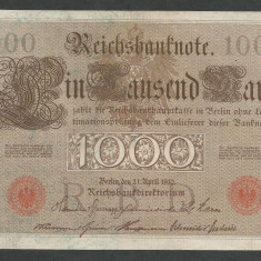 GERMANIA 1000 1.000 MARK MARCI 1910 [11] Stampila Rosie, Litera U, P-44b/5, XF - bancnota europa