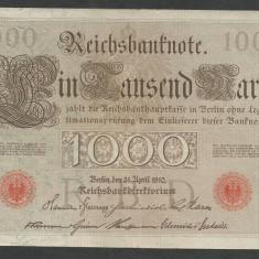 GERMANIA 1000 1.000 MARK MARCI 1910 [27] Stampila Rosie, Litera Q, P-44b/5, XF - bancnota europa