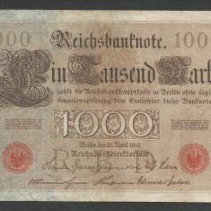 GERMANIA 1000 1.000 MARK MARCI 1910 [12] Stampila Rosie, Litera Y, VF - bancnota europa