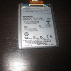 Hdd laptop 1.8 inch toshiba 100 gb MK1011GAH . 100 % HEALTH, testat, 81-99 GB, Rotatii: 5400, 2 MB