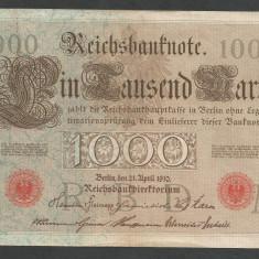 GERMANIA 1000 1.000 MARK MARCI 1910 [16] Stampila Rosie, Litera M, XF - bancnota europa