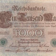 GERMANIA 1.000 marci 1910 - stampila verde VF!!! - bancnota europa