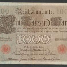 GERMANIA 1000 1.000 MARK MARCI 1910 [28] Stampila Rosie, Litera N, P-44b/3, XF - bancnota europa