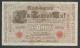 GERMANIA  1000  1.000 MARK  MARCI  1910  [21] Stampila Rosie , Litera Q ,  VF