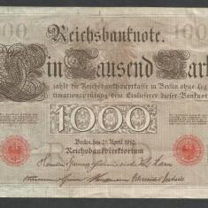 GERMANIA 1000 1.000 MARK MARCI 1910 [21] Stampila Rosie, Litera Q, VF - bancnota europa