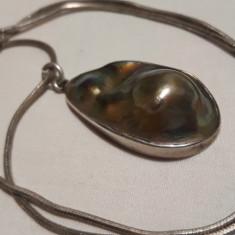 Medalion argint cu SCOICA ABALONE splendid ELEGANT superb de EFECT + Lant argint