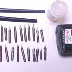 Lot 25 penite germane 2 toc calimara cerneala scris vechi grafica plastografie