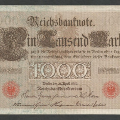 GERMANIA 1000 1.000 MARK MARCI 1910 [19] Stampila Rosie, Litera S, VF - bancnota europa