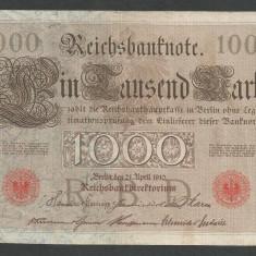 GERMANIA 1000 1.000 MARK MARCI 1910 [2] Stampila Rosie, Litera J, VF+ - bancnota europa