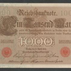 GERMANIA 1000 1.000 MARK MARCI 1910 [14] Stampila Rosie, Litera T, XF++ - bancnota europa