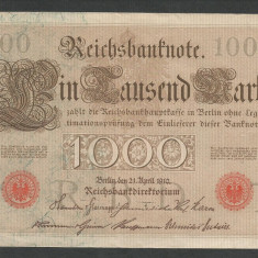 GERMANIA 1000 1.000 MARK MARCI 1910 [15] Stampila Rosie, Litera T, XF - bancnota europa