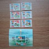 ROMANIA(C031 )- LP.1234 - PRELIMINARILE C.M. DE FOTBAL - serie+colita stampilata, Stampilat