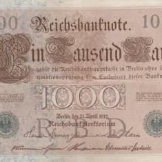 GERMANIA 1.000 marci 1910 - stampila verde VF+!!! - bancnota europa