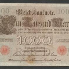GERMANIA 1000 1.000 MARK MARCI 1910 [8] Stampila Rosie, Litera M, P-44b/3, VF - bancnota europa