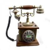 Telefon fix vintage retro cu lemn de mahon