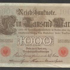 GERMANIA 1000 1.000 MARK MARCI 1910 [20] Stampila Rosie, Litera Q, VF+ - bancnota europa