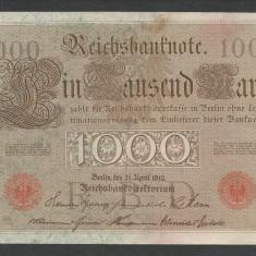 GERMANIA 1000 1.000 MARK MARCI 1910 [17] Stampila Rosie, Litera U, P-44b/5, VF+ - bancnota europa