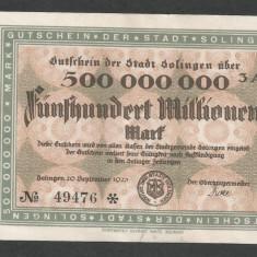 GERMANIA NOTGELD SOLINGEN 500000000 500.000.000 MARCI 1923 [2] KEL: 4809p/3A - bancnota europa