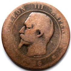 FRANTA, NAPOLEON III, 10 CENTIMES 1856 K, Bordeaux Mint, 31mm., Europa, Cupru (arama)