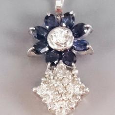 Lant pandativ din aur 18K cu safire si diamante - Lantisor aur alb