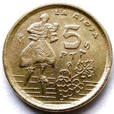 SPANIA, 5 PESETAS 1996, LA RIOJA, DESIGN UNIC !, Europa, Bronz