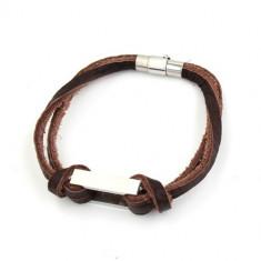 Bratara piele si inox Geometric Brown Leather - Bratara inox