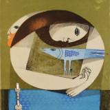 Sami Briss (n.1930) - My Beautiful Bird - Lucrare deosebita, semnata - Litografie