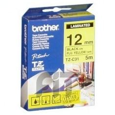 Cartus OEM Brother TZC31 12mm BLACK ON FLUO YELLOW - Cartus imprimanta