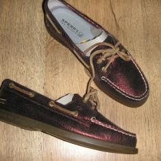 Pantofi dama SPERRY TOP SIDER originali noi piele grena superbi foarte comozi 36 - Pantof dama Sperry, Piele naturala, Cu talpa joasa
