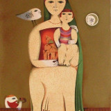 Sami Briss (n.1930) - The Family - Lucrare deosebita, semnata - Litografie
