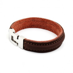 Bratara inox si piele Casual Brown Leather
