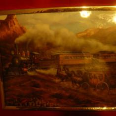Tablou - Vestul salbatic - Tren si Diligenta ,semnat Rozzi ,dim.=25,5x20,8 cm