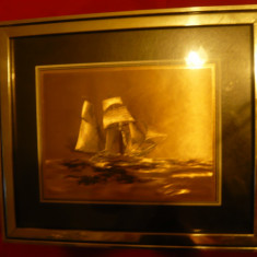 Tablou - Corabie- foita metalica aurita, rama metalica, dim.=33x28 cm - Reproducere