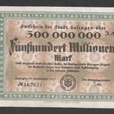 GERMANIA NOTGELD SOLINGEN 500000000 500.000.000 MARCI 1923 [1] KEL: 4809p/3A - bancnota europa