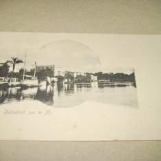 Dahabich sur Nil Egipt, vedere veche originala colectie cca 1900.