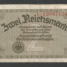 GERMANIA NAZISTA 2 MARCI MARK 1939 1940 1945 [6] Cu zvastica, P-R137b, VF+ - bancnota europa