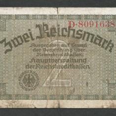 GERMANIA NAZISTA 2 MARCI MARK 1939 1940 1945 [26] Cu zvastica, P-R137b - bancnota europa