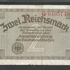 GERMANIA NAZISTA 2 MARCI MARK 1939 1940 1945 [9] Cu zvastica, P-R137a, VF - bancnota europa