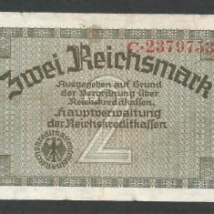 GERMANIA NAZISTA 2 MARCA MARK 1939 1940 1945 [4] Cu zvastica, P-R137a, VF+ - bancnota europa
