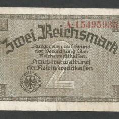 GERMANIA NAZISTA 2 MARCI MARK 1939 1940 1945 [16] Cu zvastica, P-R137b, F - bancnota europa