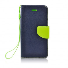 Husa Huawei P9 Lite Fancy Book Bluemarin-Lime - CM04701, Piele Ecologica